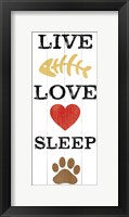 Live Love Sleep Framed Print
