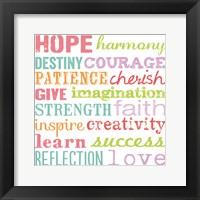 Hope Harmony Destiny Framed Print