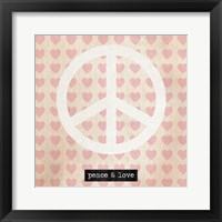 Framed Peace - Pink Hearts