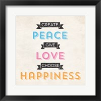 Framed Peace Love Happiness