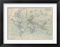 Framed Ocean Current Map I
