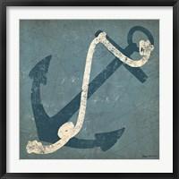 Framed Nautical Anchor Blue