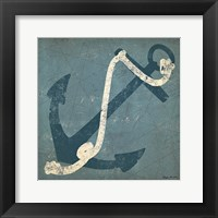 Framed Nautical Anchor Blue
