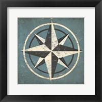 Nautical Compass Blue Framed Print