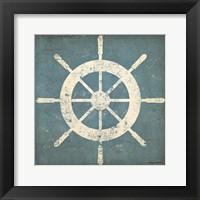 Nautical Shipwheel Blue Framed Print