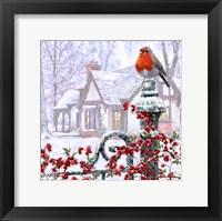 Framed Robin On Gatepost