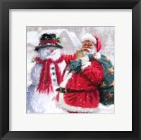 Framed Santa With Snowman