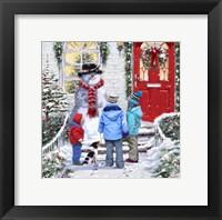 Framed Garden Snowman