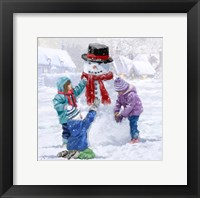 Framed Children Making Snowman