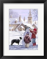 Framed Village Snowman