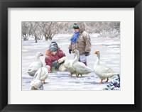 Framed Feeding Geese