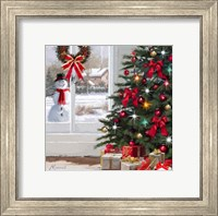 Framed Snowman At Window