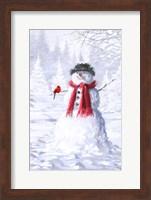 Framed Snowman With Cardinal