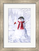 Framed Snowman With Cardinal
