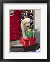 Framed Puppy With Presents