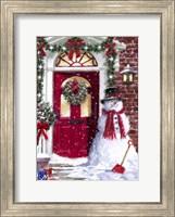 Framed Red Door Snowman