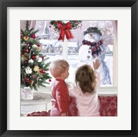 Framed Boy And Girl Looking At Snowman
