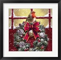 Framed Robin On Wreath