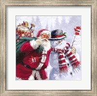 Framed Santa Snowman