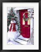 Framed Snowman Outside Red Door