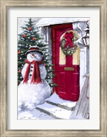 Framed Snowman Outside Red Door