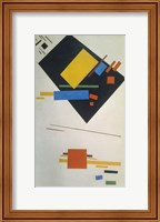 Framed Suprematist painting (with black trapezium and red square), 1915