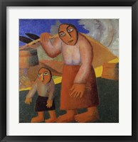 Framed Peasant Woman with Buckets
