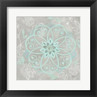 Framed Jacobean Damask Blue/Gray I