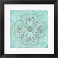 Jacobean Damask Blue/Gray II Framed Print