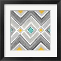Chevron Tile Black/White I Framed Print