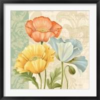 Framed Pastel Poppies Multi I