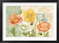 Framed Pastel Poppies Multi Landscape