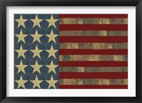 Framed Patriotic Printer Block Flag