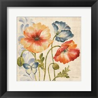 Framed Watercolor Poppies Multi I