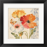 Framed Watercolor Poppies Multi II