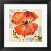 Framed Watercolor Poppies I (Orange)