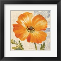 Framed Watercolor Poppies III (Orange)