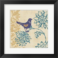 Framed Blue Indigo Bird I