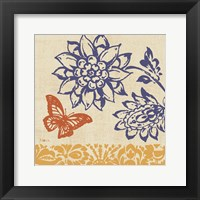 Framed Blue Indigo Butterfly I