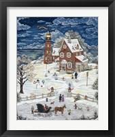 Framed Christmas At Crystal Bay Lighthouse
