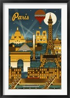 Framed Paris Evening And Balloon