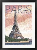 Framed Paris Pink Eiffel Tower
