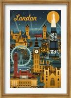 Framed London Evening Ferris Wheel