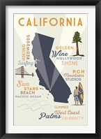 Framed California State And Text