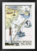 Framed Long Beach Island Map