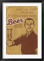 Spilled Milk And Beer Framed Print