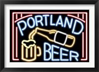 Framed Portland Beer Fluorescent Sign