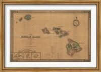 Framed Hawaiian Islands Map