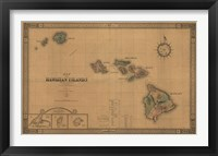 Framed Hawaiian Islands Map