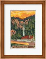 Framed Multinomah Falls And Lodge